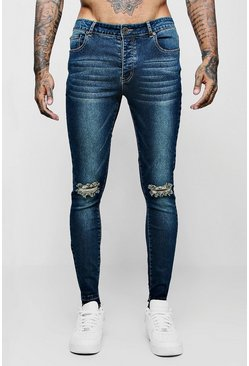 Super Skinny Raw Edge Distressed Jeans, Antique wash, Uomo