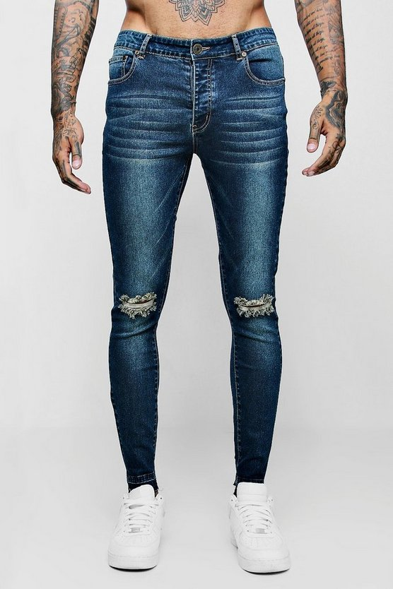 Mens Antique wash Super Skinny Raw Edge Distressed Jeans