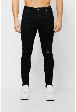 Ripped Knee Spray On Skinny Jeans, Black, Uomo
