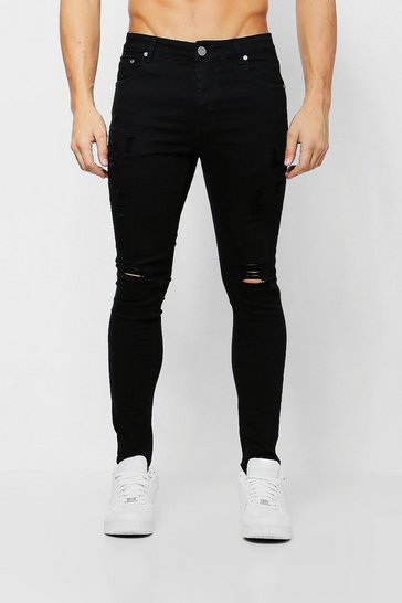 Mens Black Ripped Knee Spray On Skinny Jeans