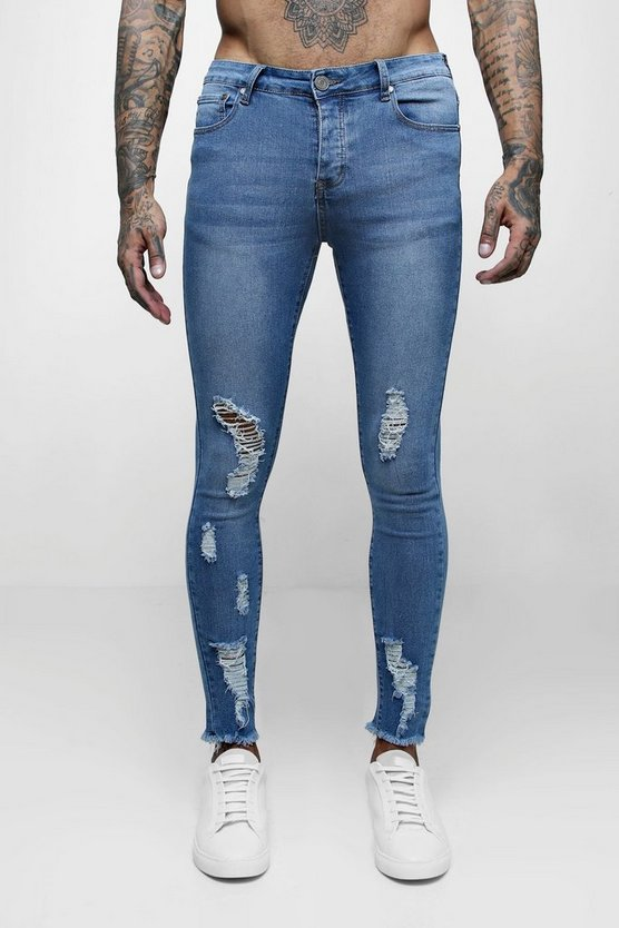 Mens Mid blue Spray On Skinny Jeans with All Over Rips