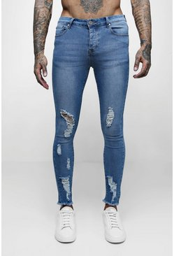 Spray On Skinny Jeans with All Over Rips, Mid blue, Uomo