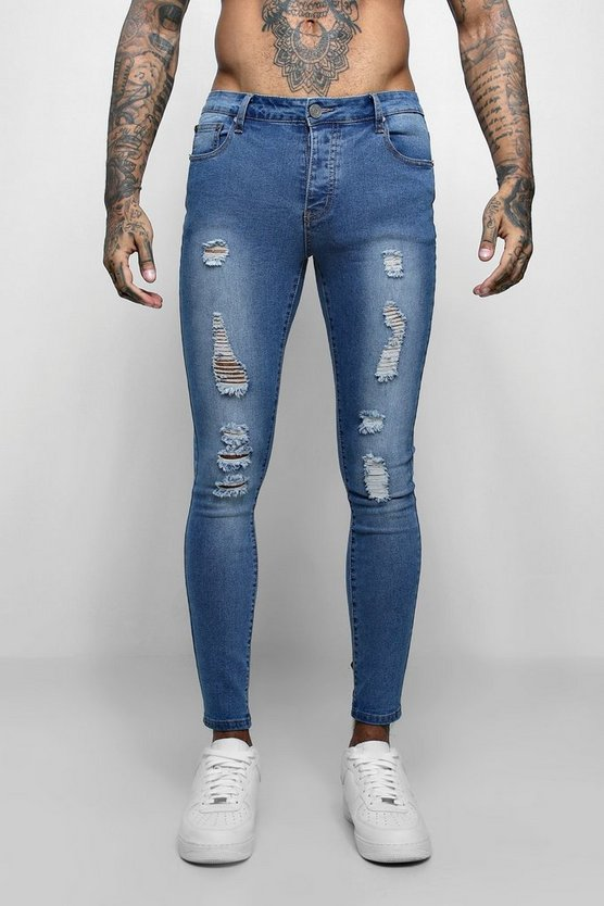 Mens Mid blue All Over Ripped Super Skinny Fit Jeans