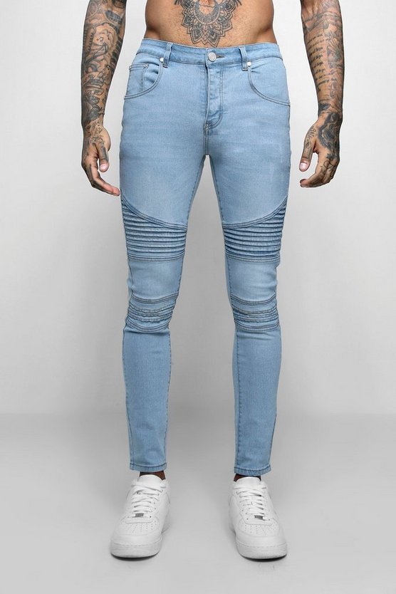 Mens Washed blue Super Skinny Fit Jeans With Biker Detail