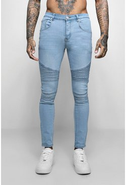Super Skinny Fit Jeans With Biker Detail, Washed blue, Uomo