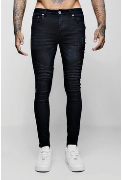 Super Skinny Fit Jeans With Biker Detail, Charcoal, Uomo