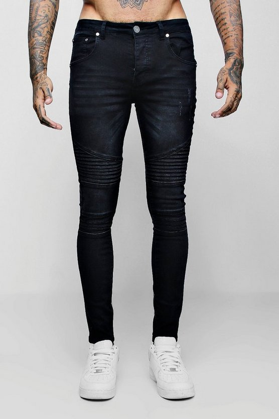 Mens Charcoal Super Skinny Fit Jeans With Biker Detail