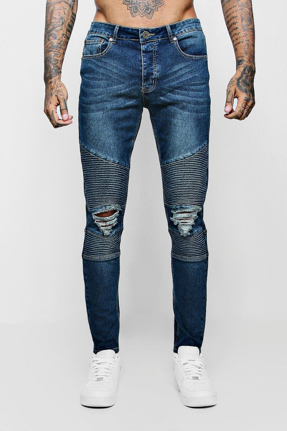 Antique Wash Biker Detail Skinny Fit Jeans