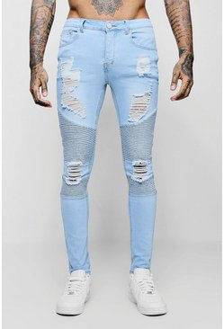 Super Skinny Biker Jeans With Extreme Rips, Washed blue, Uomo