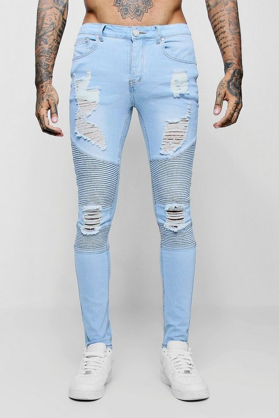 Mens Washed blue Super Skinny Biker Jeans With Extreme Rips