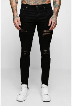 Super Skinny Biker Jeans With Extreme Rips, Black, Uomo