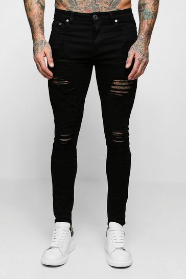 Black Super Skinny Biker Jeans With Extreme Rips