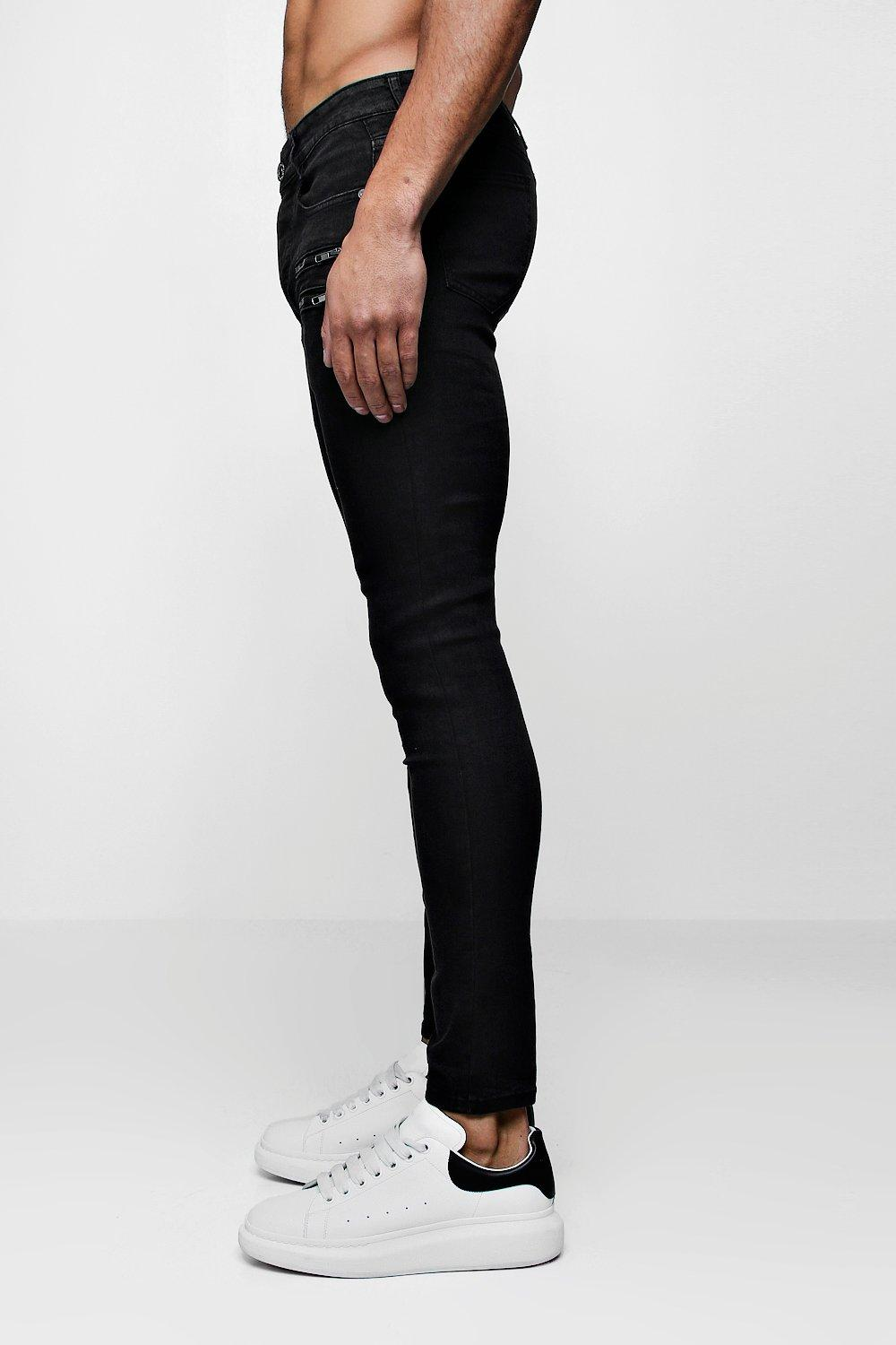 Super Detail Skinny black Jeans Zip washed With PcP8qOr