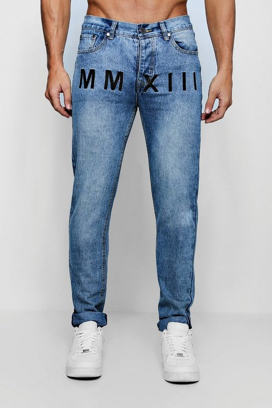 Skinny Fit Rigid Jeans With Embroidery