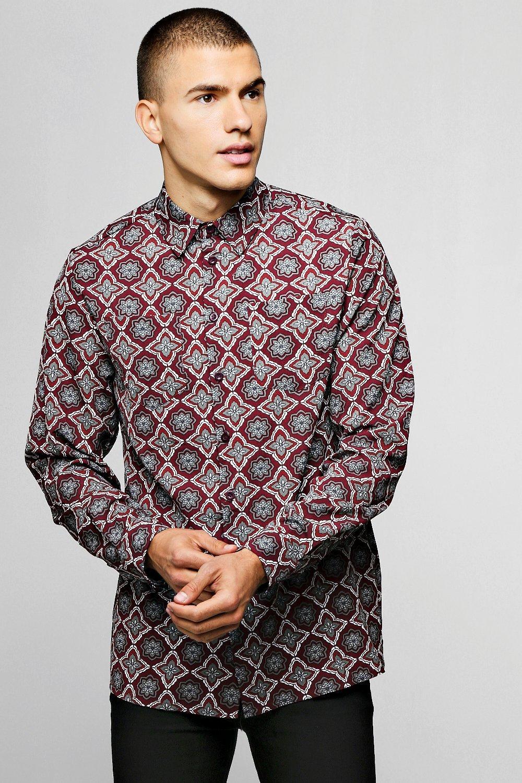 Long Sleeve Tile Print Viscose Shirt