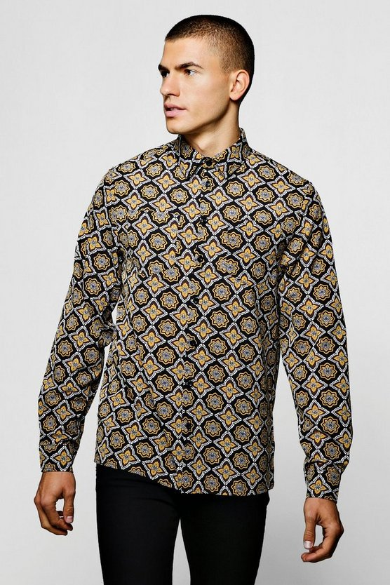 Long Sleeve Tile Print Viscose Shirt