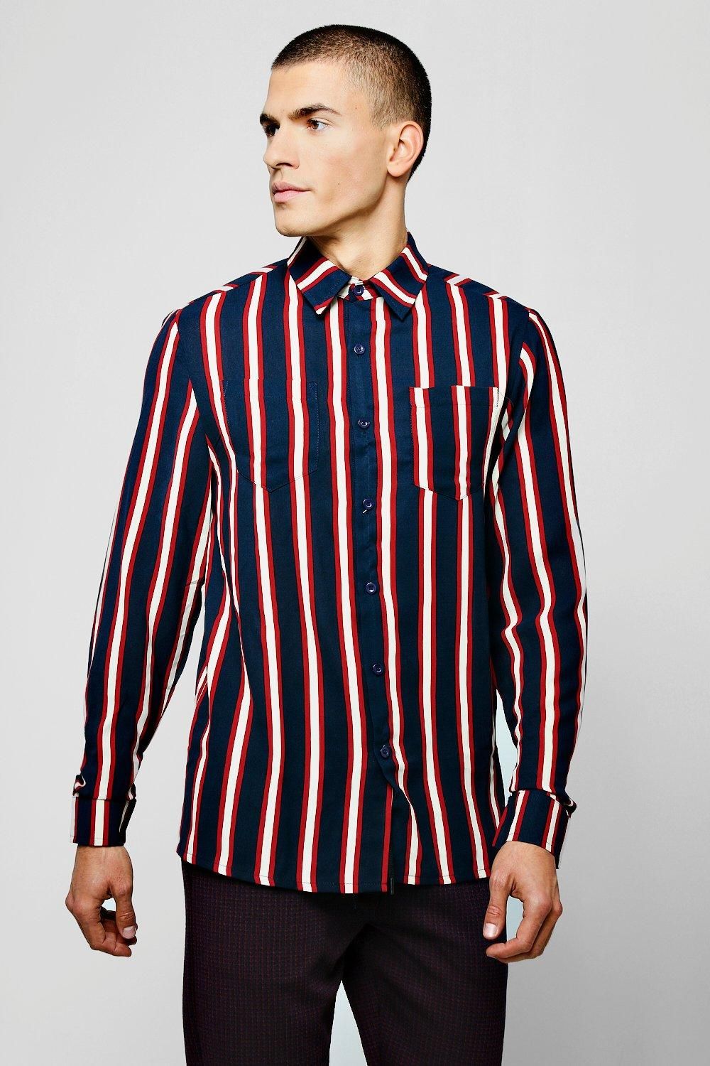 Relaxed Fit Stripe Long Sleeve Shirt