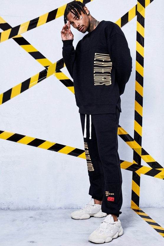 Man Certified Washed Sweat Tracksuit With Print Detail