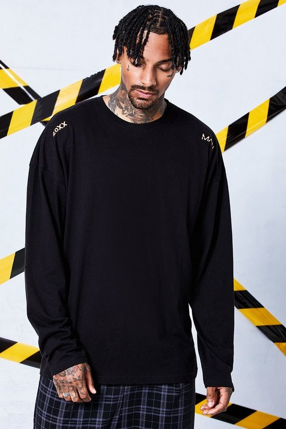 Oversized Long Sleeve T-Shirt With Woven Tab Detail