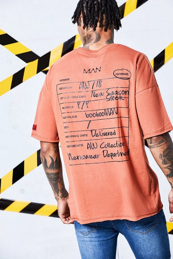 Man Certified Raw Hem Drop Shoulder T-Shirt With Back Print