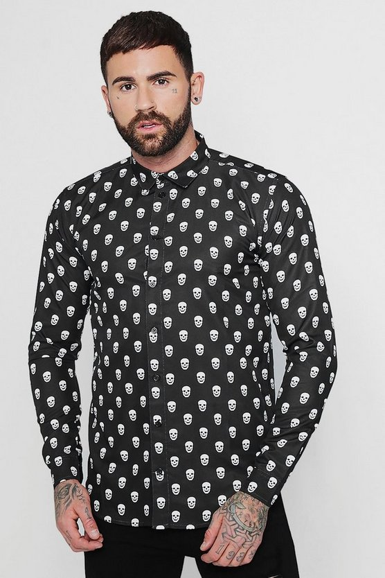 Skull Print Long Sleeve Satin Shirt