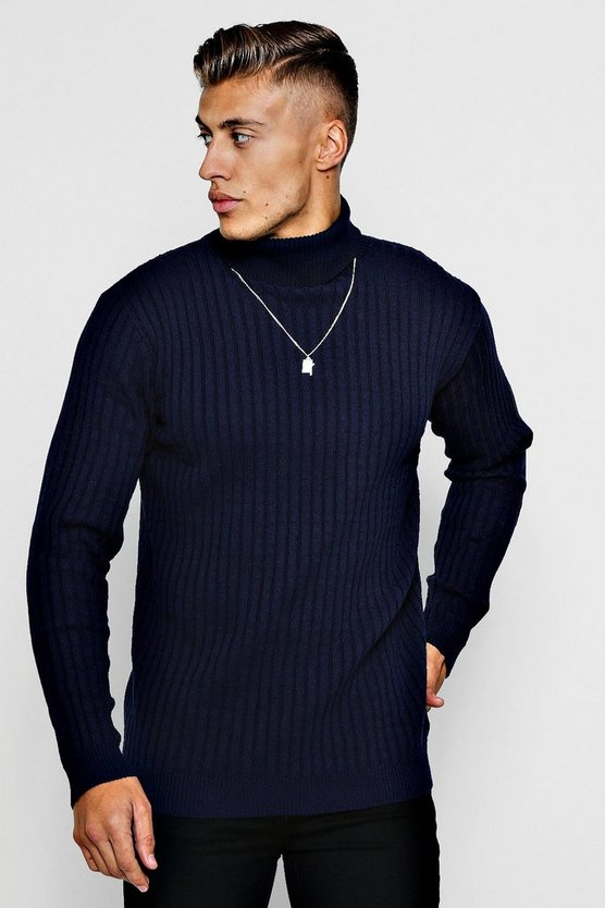 Ribbed Long Sleeve Roll Neck Jumper
