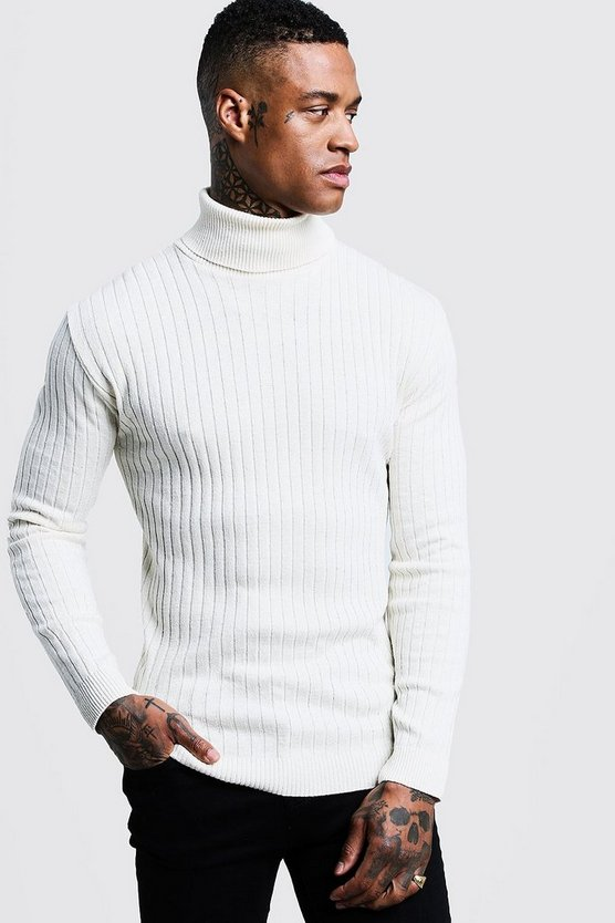 Mens Ecru Muscle Fit Ribbed Long Sleeve Roll Neck Jumper