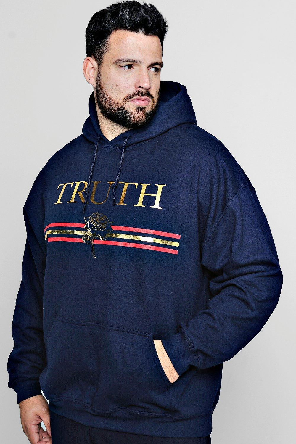 Big And Tall Truth Foil Print Hoodie