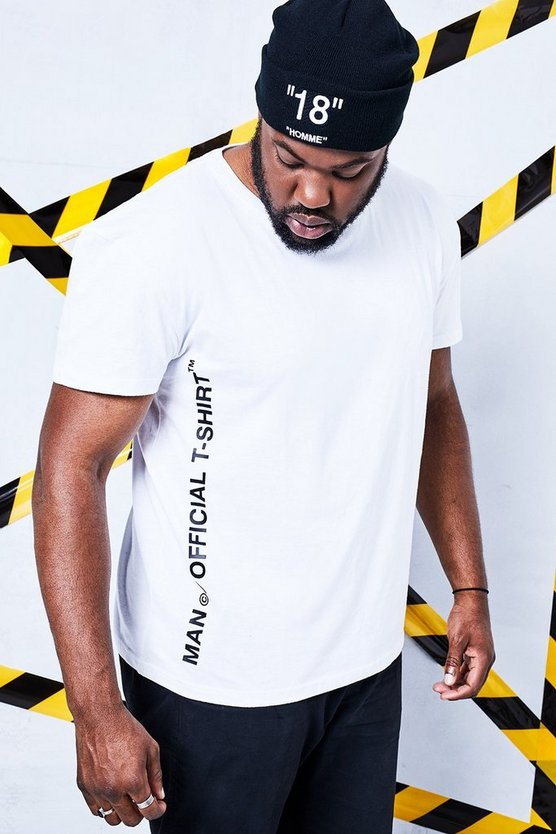 Big And Tall Man Certified Side Printed T-Shirt