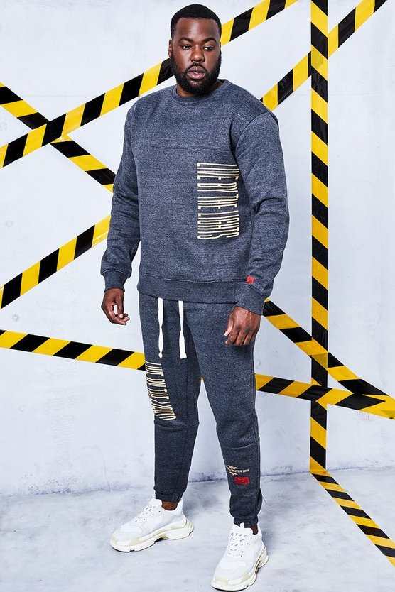 Big And Tall Man Certified Printed Tracksuit