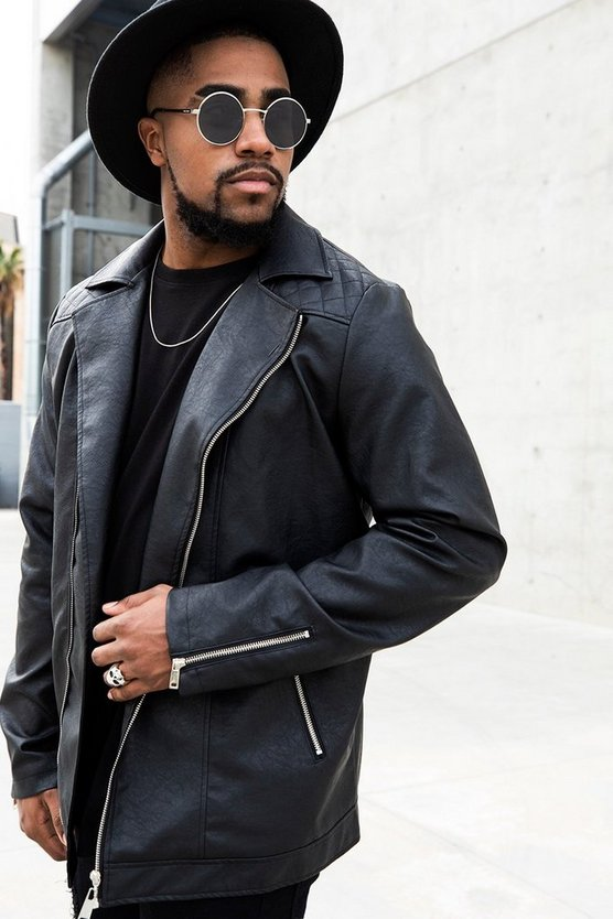 Big and Tall Stitch Detail Faux Leather Biker Jacket