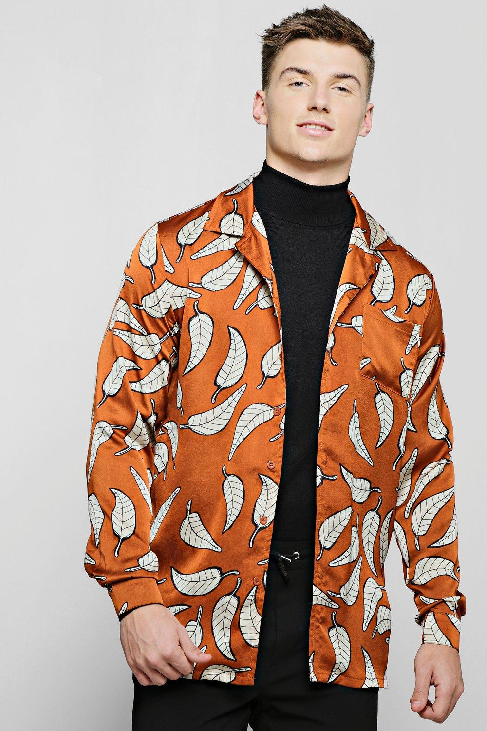 Rust Leaf Print Revere Long Sleeve Shirt