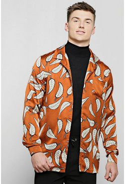 Mens Brown Rust Leaf Print Revere Long Sleeve Shirt
