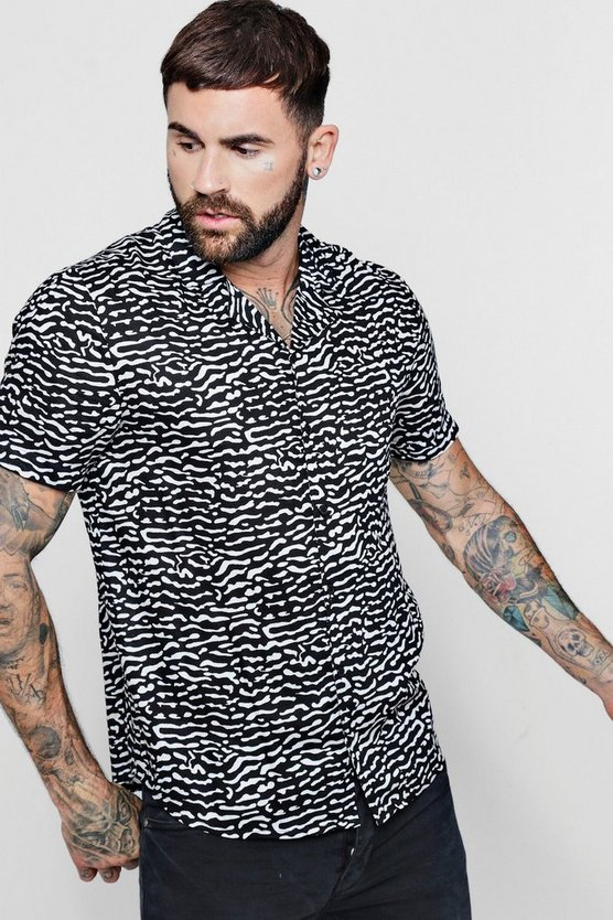 Zebra Print Short Sleeve Viscose Revere Shirt