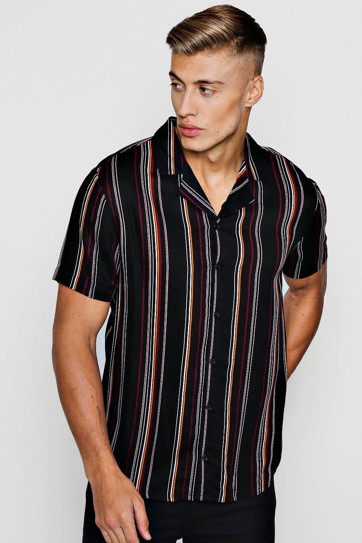 stripe short sleeve viscose revere shirt boohooman