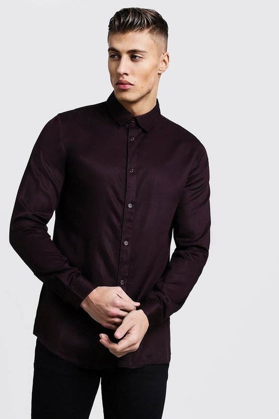Burgundy Long Sleeve Viscose Shirt