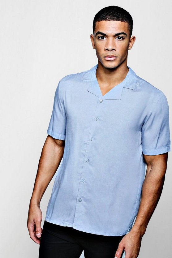Short Sleeve Viscose Revere Collar Shirt