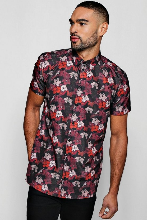 Dark Floral Print Short Sleeve Satin Shirt