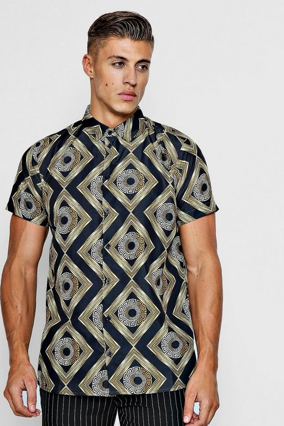 Baroque Tile Print Short Sleeve Shirt