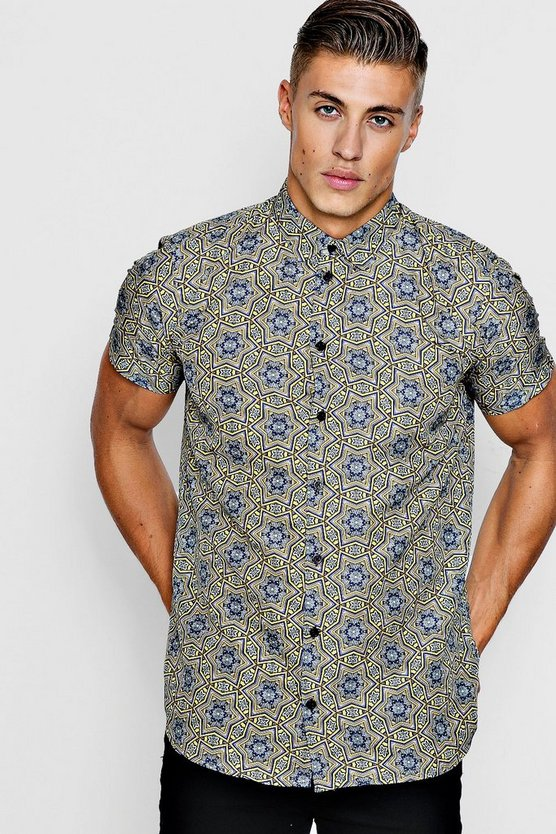 Star Print Short Sleeve Satin Shirt