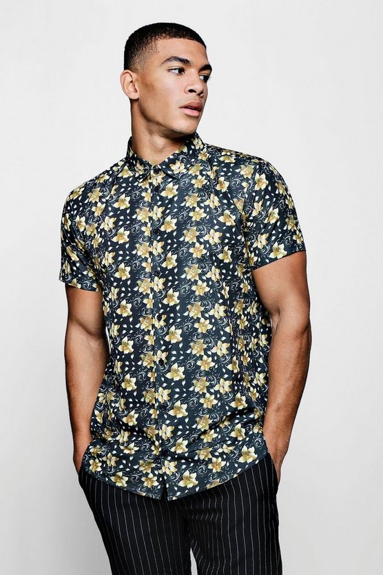 Gold Floral Print Short Sleeve Satin Shirt