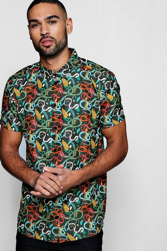 Mens Black Snake Print Short Sleeve Satin Shirt
