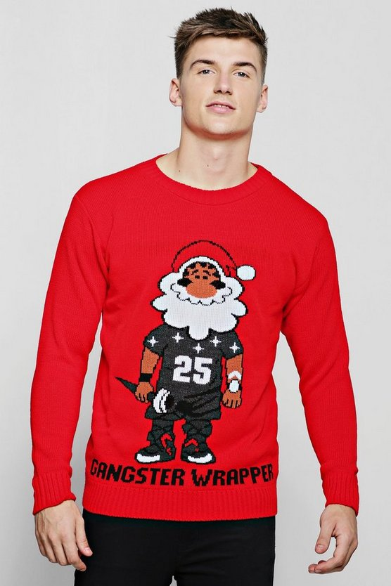Gangster Wrapper Knitted Christmas Jumper