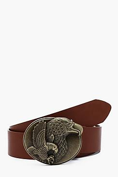 Eagle Buckle Faux Leather Belt
