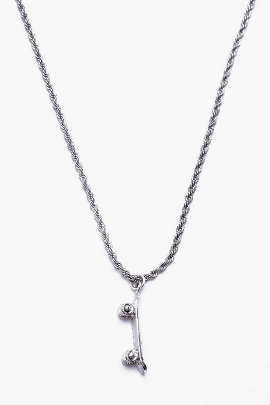 Skateboard Pendant Rope Chain Necklace