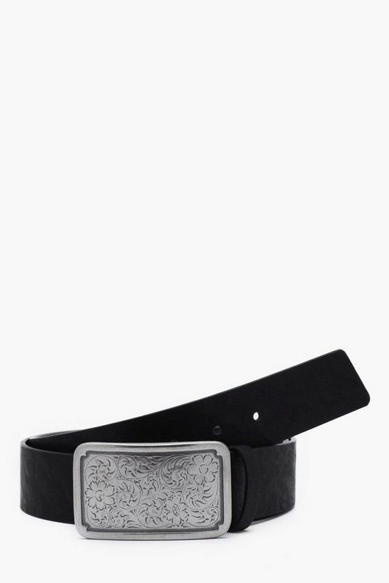 Embossed Pattern Metal Plate Faux Leather Belt