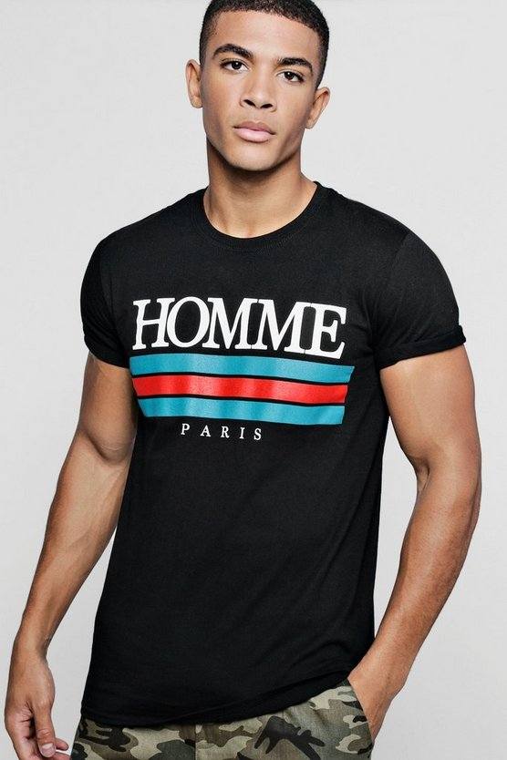 Homme Paris Print T-Shirt With Rolled Sleeve