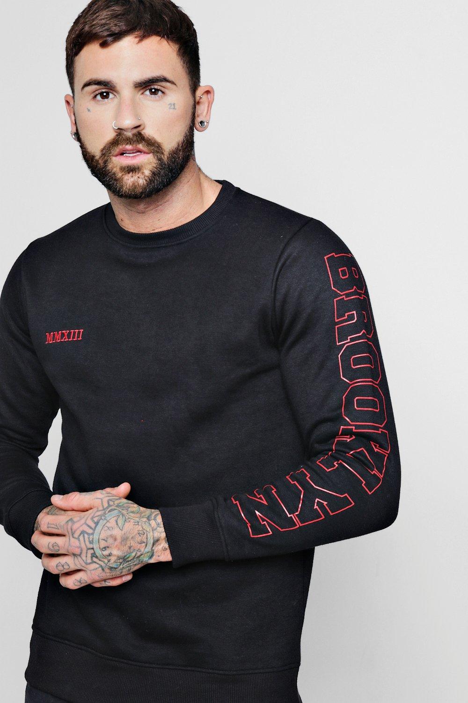 Side Sweater black Brooklyn Side Printed Printed rxXqI7wr