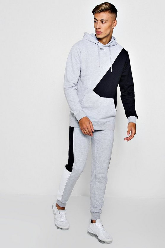Colour Block Over The Head Hooded Tracksuit