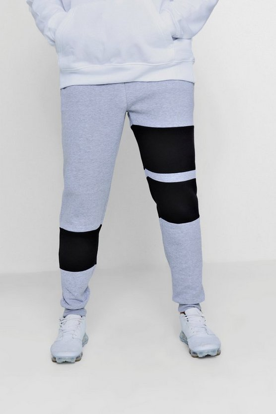 Colour Block Panelled Skinny Fleece Jogger